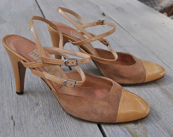 Vintage gold and brown leather slingback shoes FOGLIARINI Nice Size 36 FR