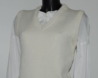 Vintage ecru sleeveless sweater Size 38 FR