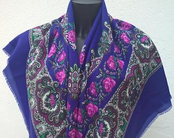 Vintage blue cashmere print scarf 117x117 cm