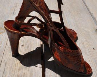 Vintage reptile high heels sandals (Size 39.5 FR)