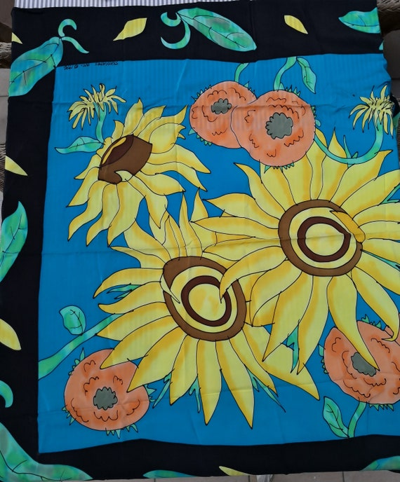 Vintage 90s silk scarf SILKSCAPES handpainted 116x