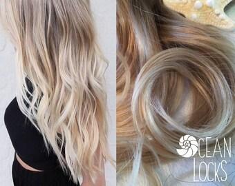 Ombre Hair Extensions, FULL SET, Balayage Hair Extensions, Wedding Hair, Clip in,  Platinum Hair, Blonde Hair, Mermaid Hair, Human Hair