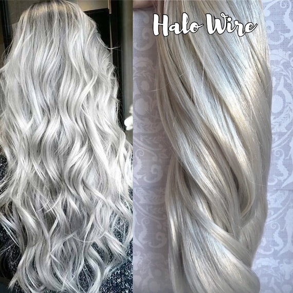 Platinum Halo Hair Extensions Silver White Hair Grey Hair Etsy