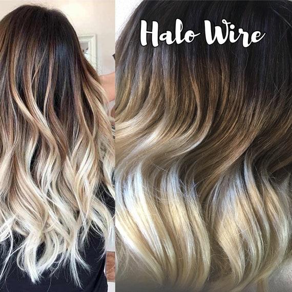 Halo Hair Extensions Ombre Hair Dark Brown Hair Platinum Etsy