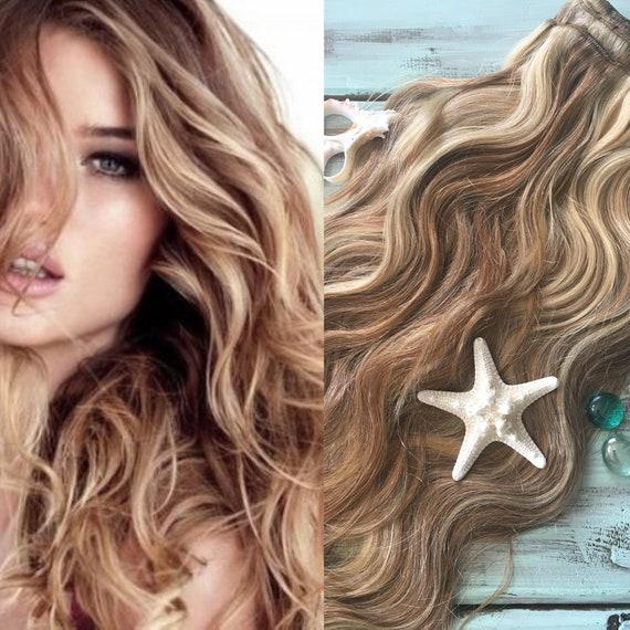 Dark Blonde Clip In Hair Natural Blonde Hair Highlighted Etsy