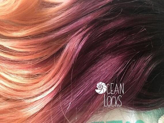 Human Hair Extensions, Clip In Hair, Plum Hair, Ombre Hair, Peach Hair,  Coral Hair, Purple Hair, Mermaid Hair, Ocean Locks Hair