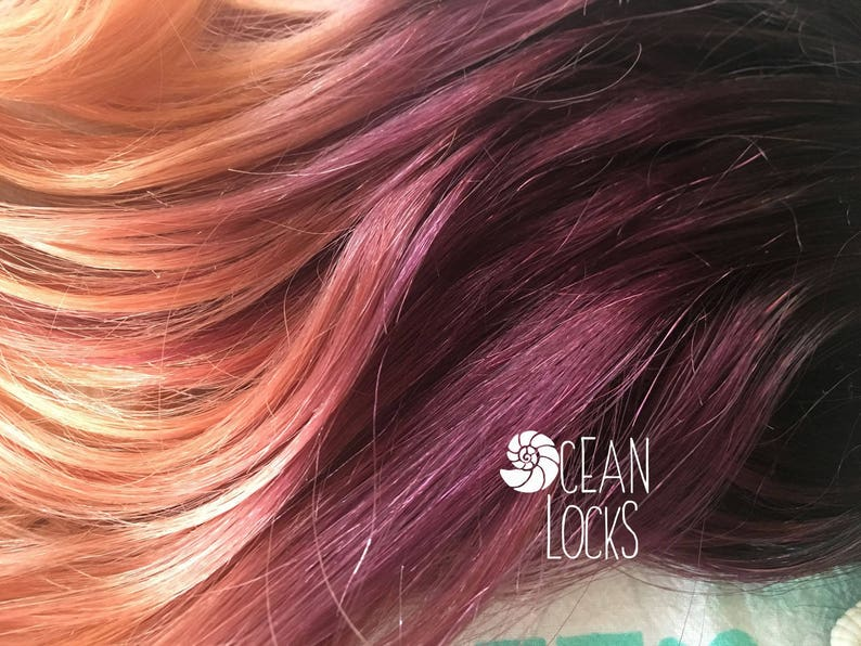 Human Hair Extensions, Clip In Hair, Plum Hair, Ombre Hair, Peach Hair,  Coral Hair, Purple Hair, Mermaid Hair, Ocean Locks Hair