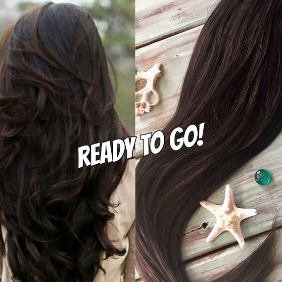 Human Hair Extensions Clip In Hair Extensions Dark Brown Etsy