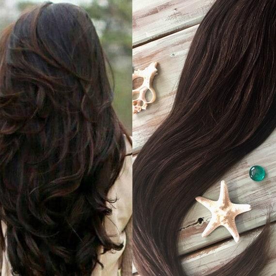 Dunkel Braun Hair Extensions 2 Farbe Haar Clip Im Haar Etsy