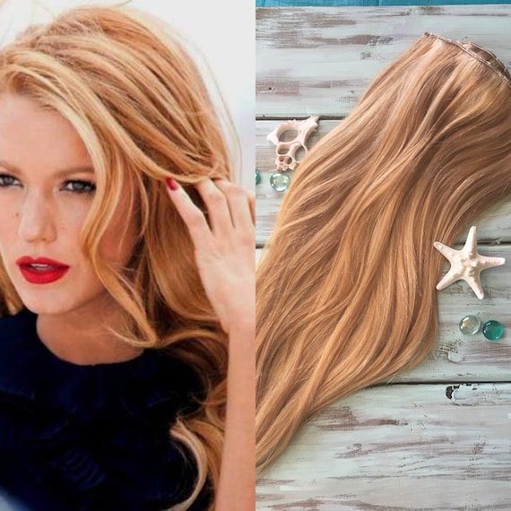 Highlighted Hair Extensions Full Set Clip In Hair Etsy