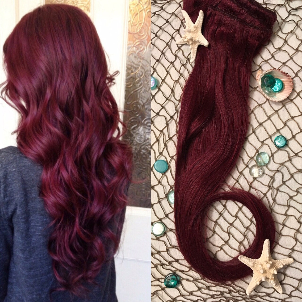 Burgundy Hair Extensions Red Wine Hair Clip In Hair Etsy