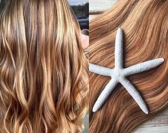 Highlighted Hair Extensions, FULL SET, Clip in Hair Extensions, Wedding Hair, Light Brown Hair, Blonde Hair, Mermaid Hair, Human Hair
