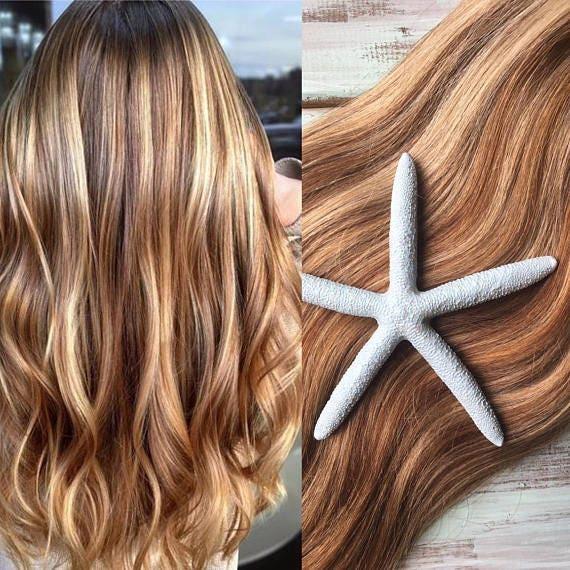 Highlighted Hair Extensions Full Set Clip In Hair Etsy