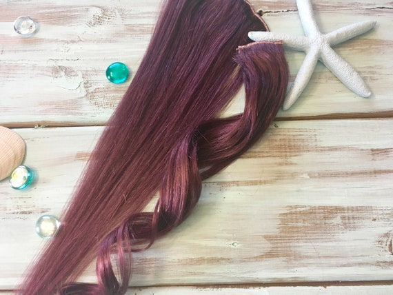 Plum Hair Extensions, Ready to Ship, Clip in Hair, Purple Hair, Mauve Hair,  Natural Human Hair, Mermaid Hair, Ocean Locks Hair