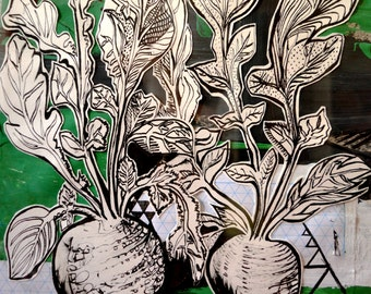 Fine Art - Beetroot- vegetable- fruit - plant- hand drawn in ink-  collaged onto acrylic paint and paper