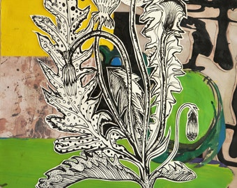 Fine Art - vegetable- fruit - plant-  Dandelions - hand drawn in ink-  collaged onto acrylic paint and paper