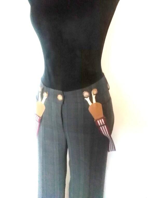 Raised waist checkered pants, girls suspender trou