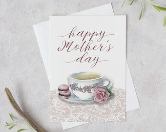 Watercolor Mother's Day Card | Teacup and Macarons watercolor card | Floral Mother's Day Greeting Card | Teacup greeting card | gift for mom
