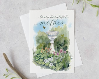 Card for mom | Flower Mother's Day Card | To my Beautiful Mother | Floral Greeting Card | Gift from daughter | Watercolor flower card