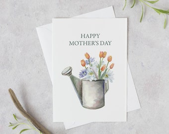 Mother's Day Card | Garden flowers card | Watercolor Floral Mother's Day Greeting Card | Gift for mom | gift from daughter | Garden card