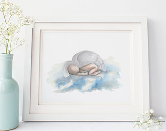 Baby loss custom watercolor print | Angel baby | Miscarriage gift | Baby loss art | Personalized baby loss art | Miscarriage keepsake