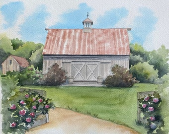 Watercolor Wedding Venue Sketch, Personalised Couple Gift, Custom Building Illustration, Unique Anniversary Present, First Anniversary gift