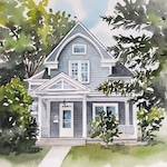 Custom home portrait, house painting, housewarming gift, Watercolor house portrait, painting of home, home illustration