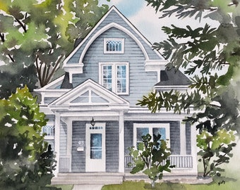 Custom home portrait, house painting, housewarming gift, Watercolor house portrait, painting of home, home illustration