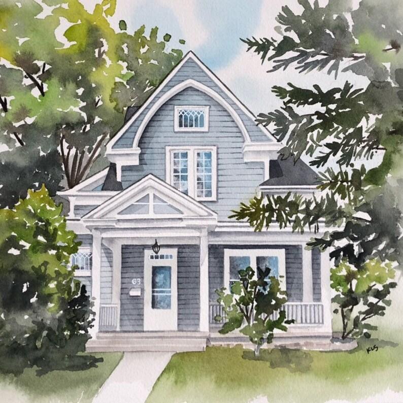 Custom home portrait house painting housewarming gift image 0