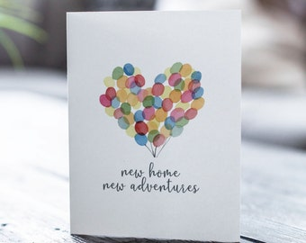 New Home New Adventures Card | New Home Card | Housewarming Card | Moving Card | First Home Card | Congratulations House
