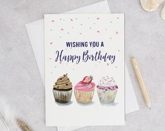 Happy Birthday Card | Birthday cupcake card | Wishing you a Happy Birthday | Card for Her | Birthday card for Mom | watercolor cupcake card