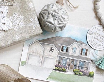 Custom watercolor house portrait from photo | Christmas gift house painting | Keepsake home painting | First home gift | Painting of house