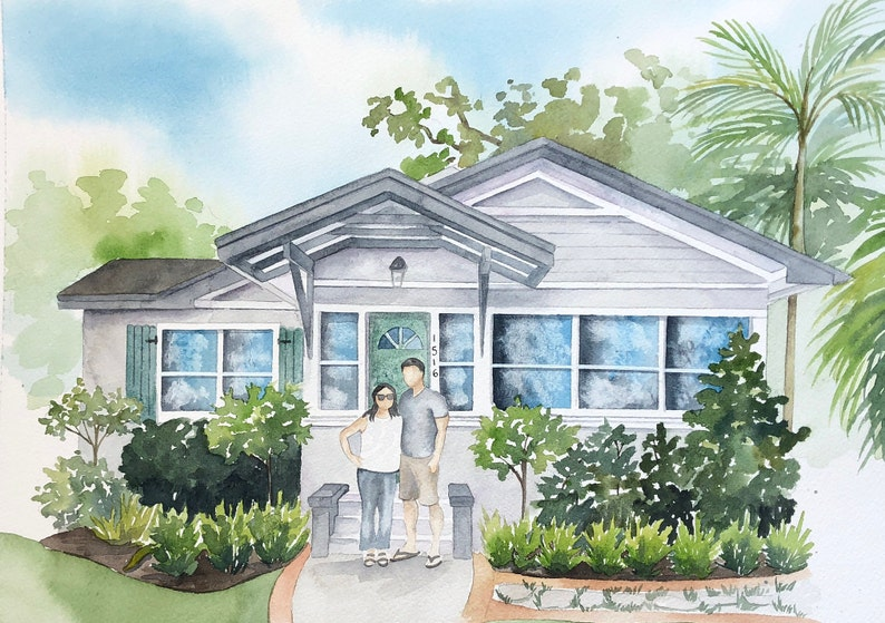 Custom home portrait with family  House painting with family image 0