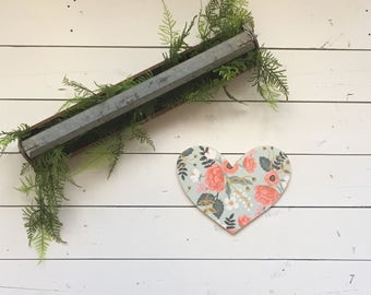 Floral Wood Heart