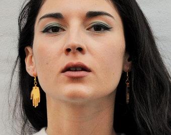 Gold hand earrings, gold laser cut jewellery, frida kahlo hand earrings, quiky jewellery.