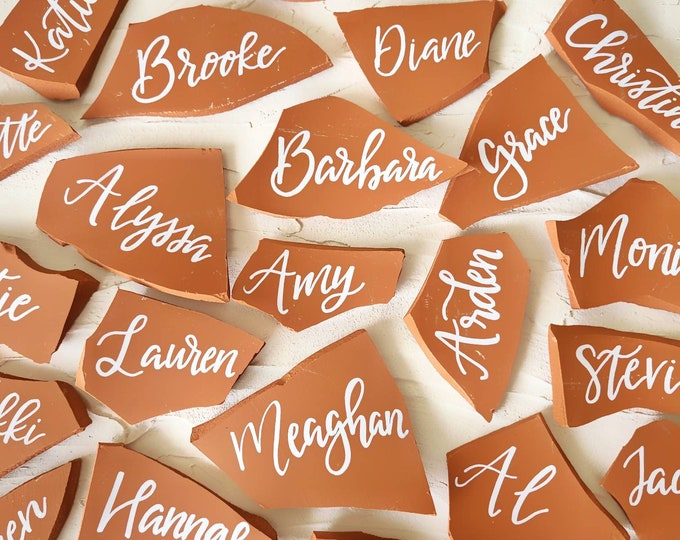 Terra Cotta Place Cards || Name Cards || Wedding Decor || Party Decor || Place Setting || Hand Lettered || Calligraphy