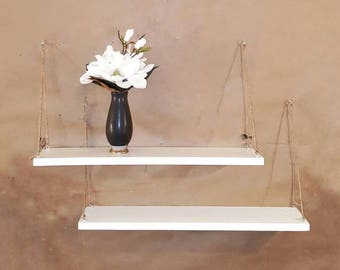2 White reclaim wood anchor rope shelf set-Shelving-wall storage & organization-hanging rope  plant shelves-shelf sets-home and living-plant