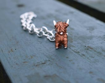 Silver and copper Highland Cow charm & bracelet, highland cow, highland cattle, Scottish jewellery, Scotland bracelet, Highland cow gift,Cow
