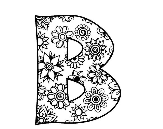 Adult Coloring Page 099 Letter B Alphabet Flowers SVG JPEG PNG Pdf Use With Silhouette Studio
