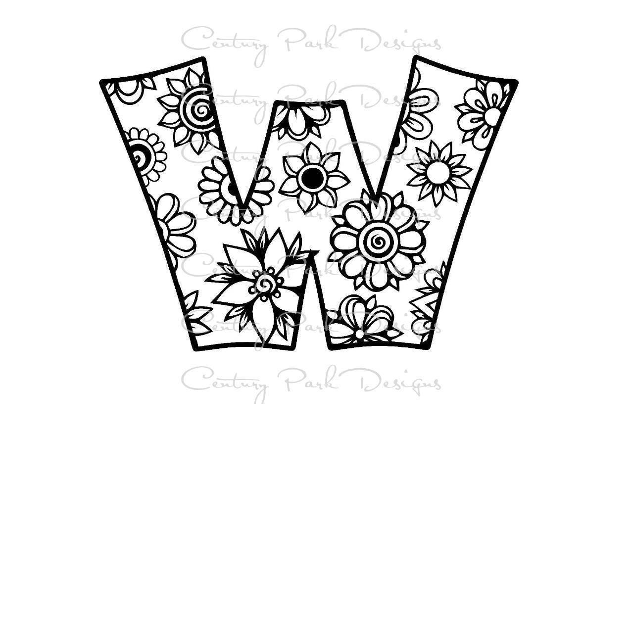 Letra W alfabeto flores SVG / JPEG / PNG /pdf uso con estudio   Etsy