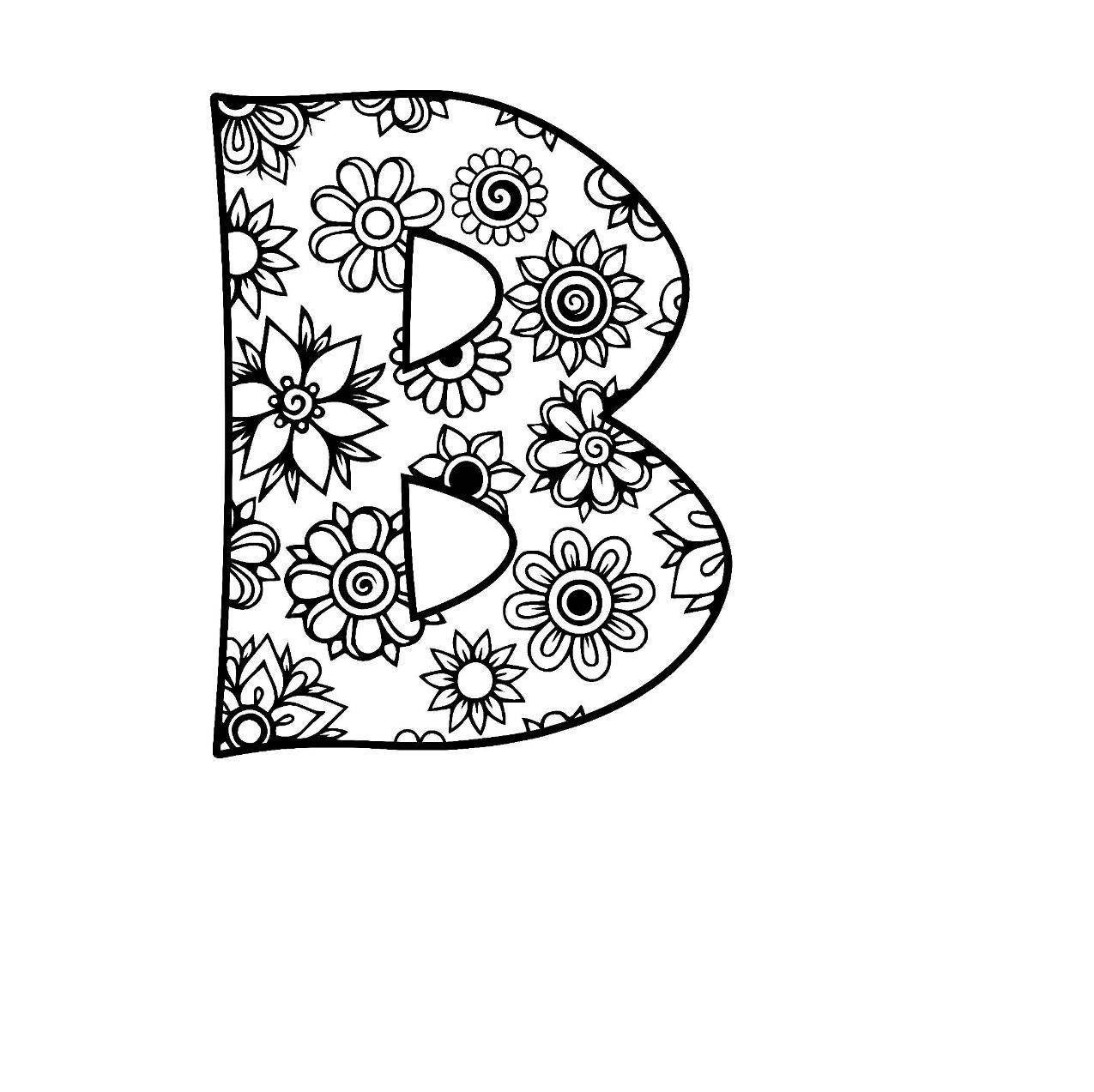 Letter B Alphabet Flowers SVG JPEG PNG Pdf Use With Silhouette Studio And Cricut Design Space