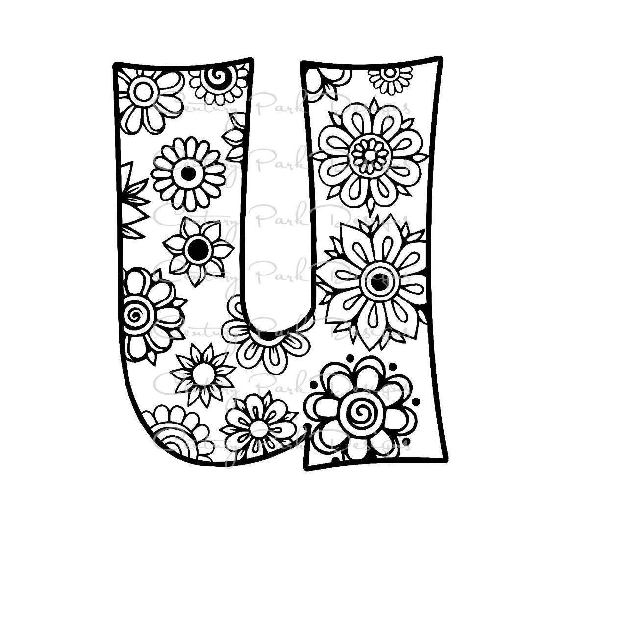 Letter U Alphabet Flowers SVG / JPEG / PNG /pdf / use with