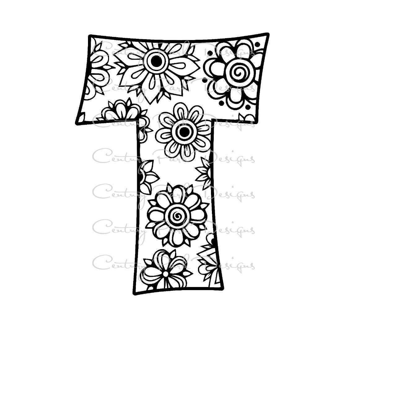 Letter T Alphabet Flowers SVG / JPEG / PNG /pdf / use with ...
