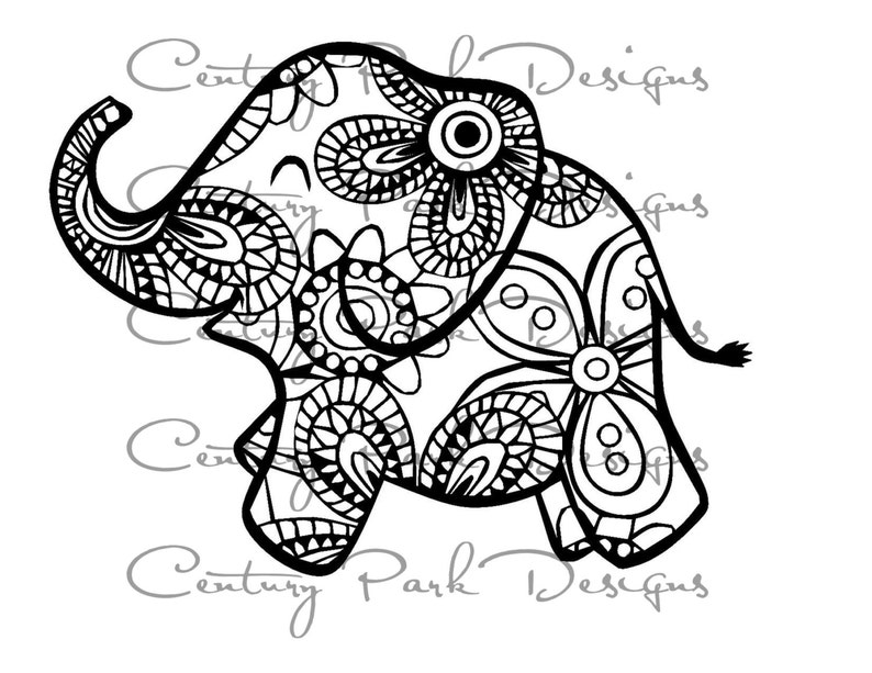 Coloriage Bebe Elephant.Bebe Elephant Svg 003 Mandala Svg Jpeg Png Ang Utiliser Etsy