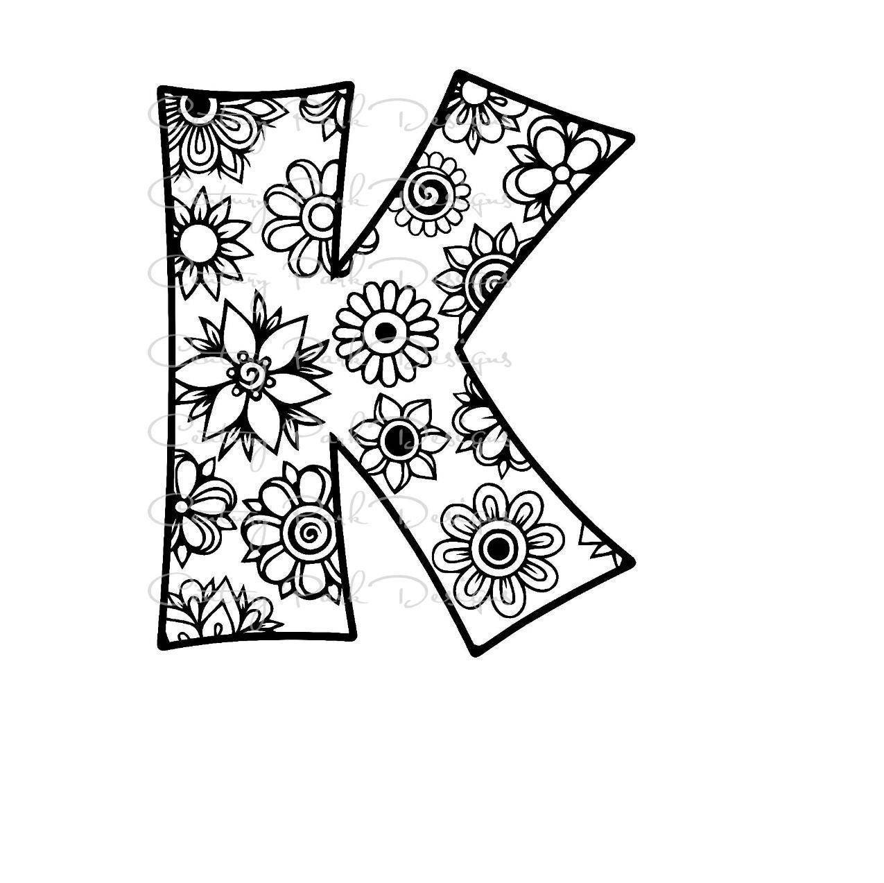 Letter K Alphabet Flowers SVG JPEG PNG Pdf Use With Silhouette Studio And Cricut Design Space