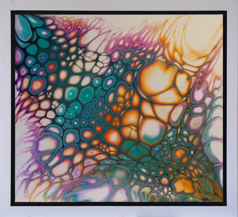 Framed Fluid Acrylic Painting Pour Art Modern Abstract image 0