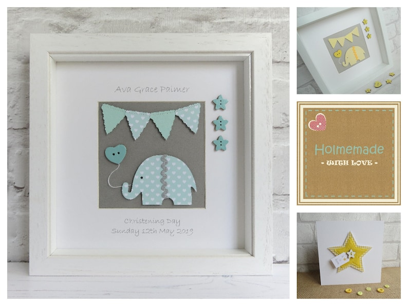 Baby Elephant In Trunk Personalised Christening Bunting