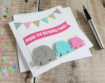 Personalised Child's Birthday Card - Elephants on Parade Card for boys or girls - available in pink or red