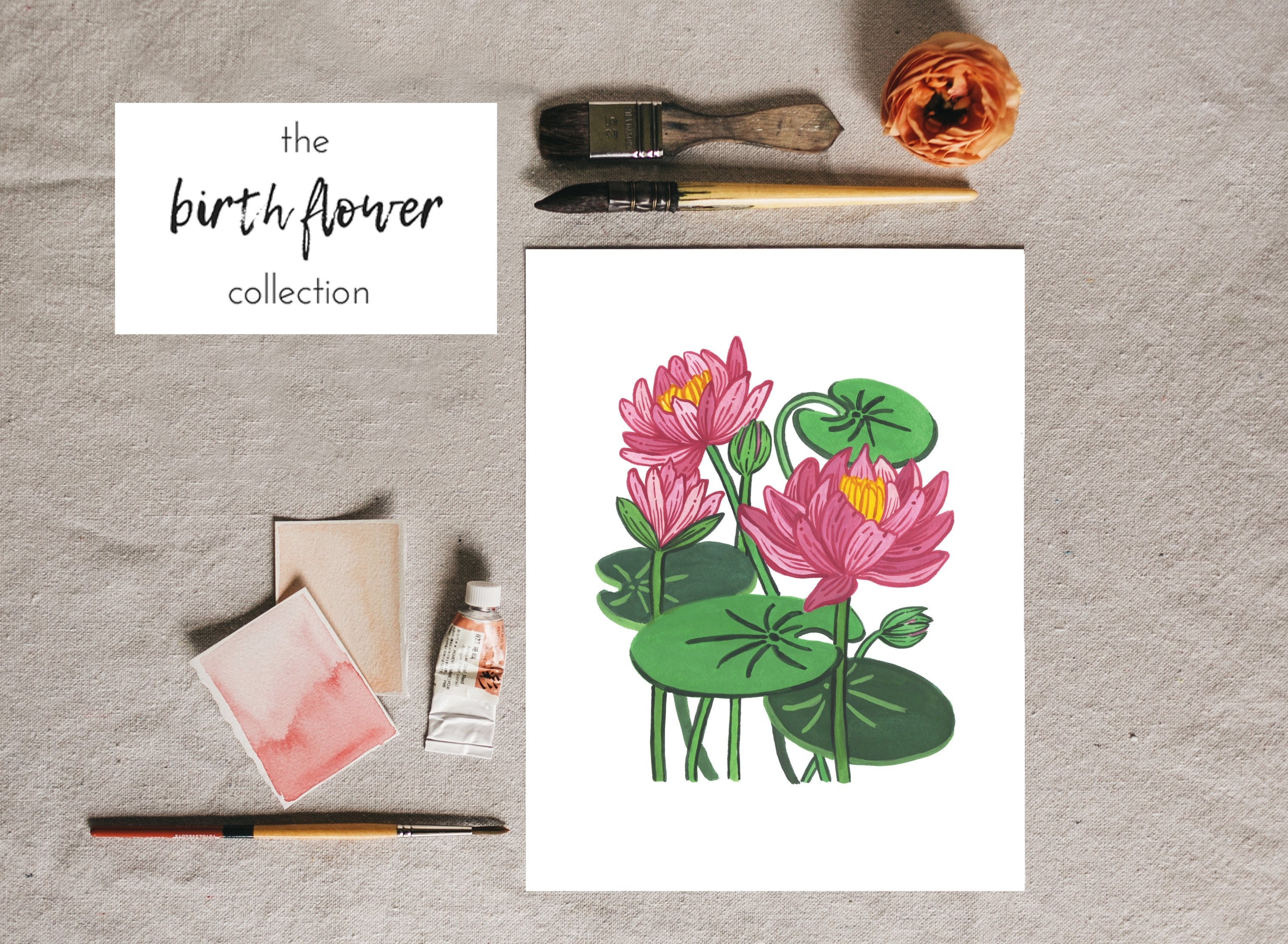 July birth flower water lily floral illustration water lily etsy zoom izmirmasajfo