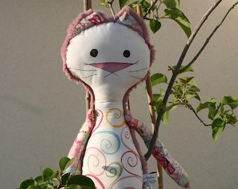 Decorative blanket - pink giant GraphiCat - OOAK doll